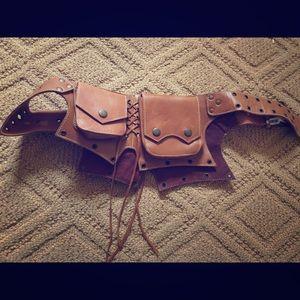 Brown Leather * Holster Belt Bag * Western Fringe